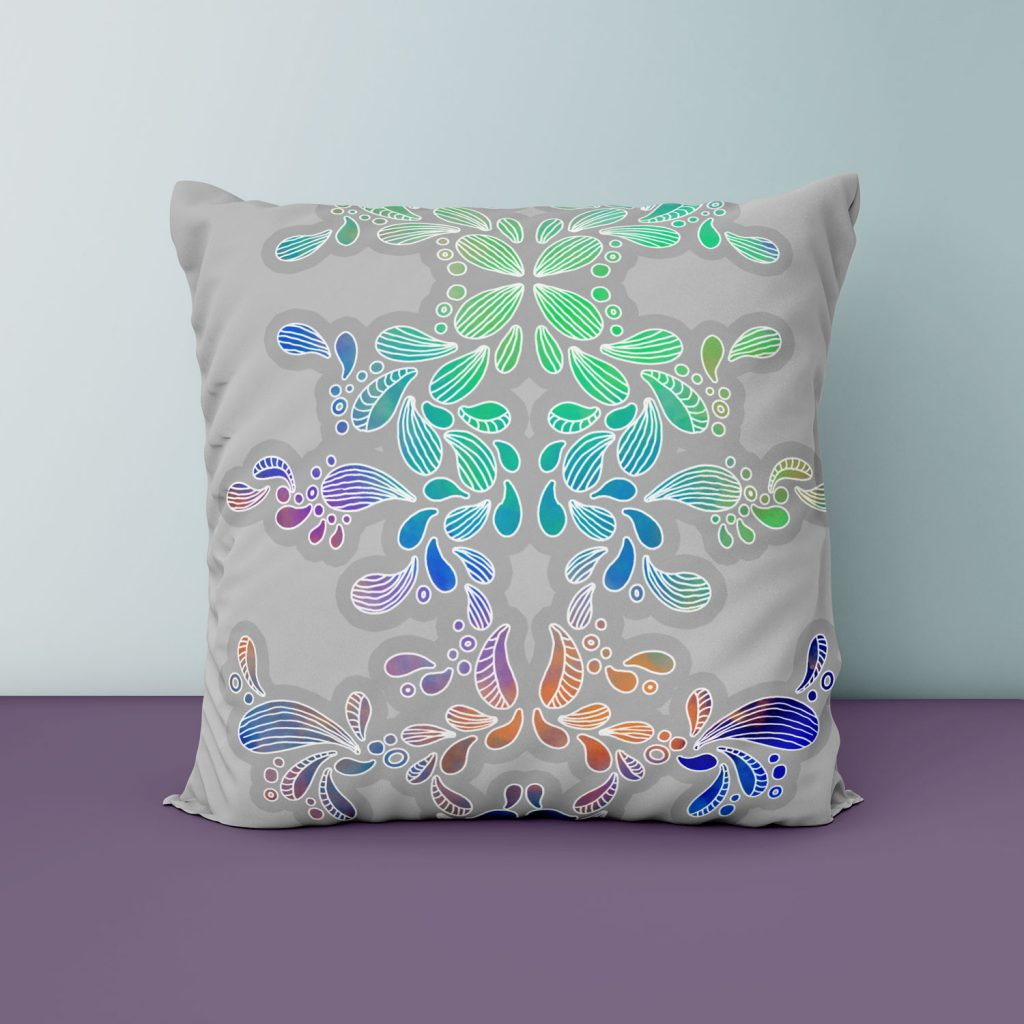 Paisley-kuvioinen tyyny. © Johanna Pakkala